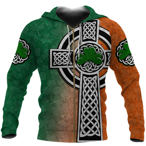 Irish Celtic Cross Shamrock Zip Hoodie - Celtic Nations