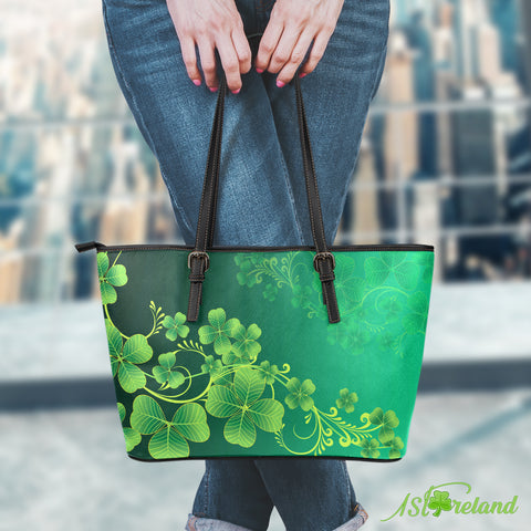 Beautiful Clover Large Leather Tote Bag