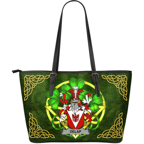 Irish Handbags, Delap Family Crest Handbags Celtic Shamrock Tote Bag Large Size A7