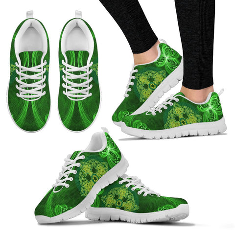 Irish St Patrick's Day Shoes, Shamrock Celtic Cross Sneakers A0