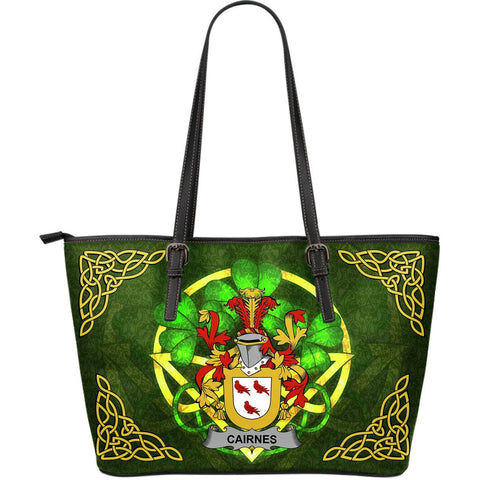 Irish Handbags, Cairnes Family Crest Handbags Celtic Shamrock Tote Bag Large Size A7