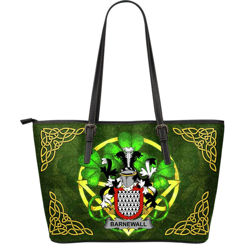 Irish Handbags, Barnewall Family Crest Handbags Celtic Shamrock Tote Bag Large Size A7