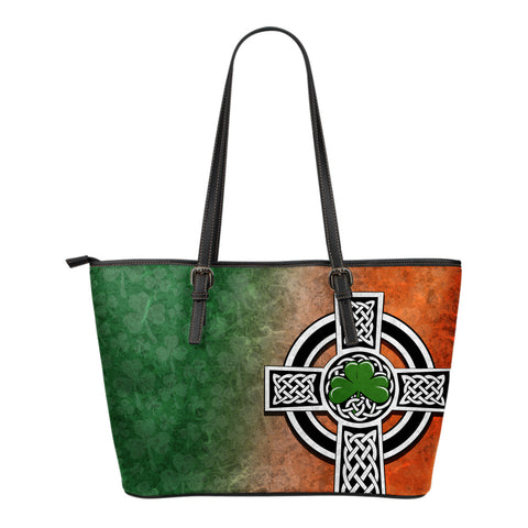 Irish Shamrock Small Leather Tote, Celtic Cross Leather Tote K4