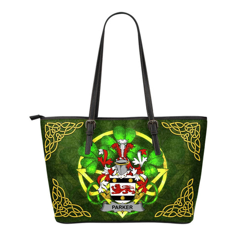 Irish Handbags, Parker Family Crest Handbags Celtic Shamrock Tote Bag Small Size A7