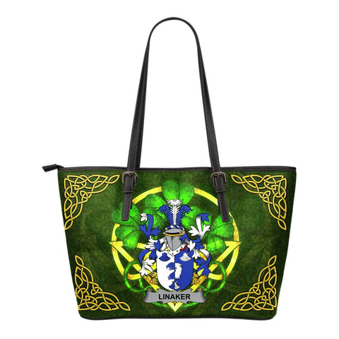 Irish Handbags, Linaker Family Crest Handbags Celtic Shamrock Tote Bag Small Size A7