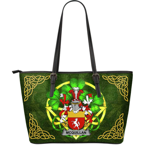 Irish Handbags, Quillan or McQuillan Family Crest Handbags Celtic Shamrock Tote Bag Large Size A7