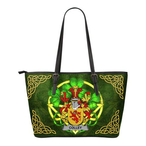 Irish Handbags, Colley or McColley Family Crest Handbags Celtic Shamrock Tote Bag Small Size A7