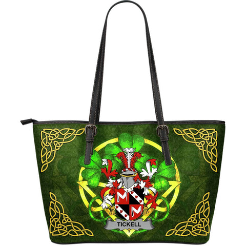 Irish Handbags, Tickell Family Crest Handbags Celtic Shamrock Tote Bag Large Size A7