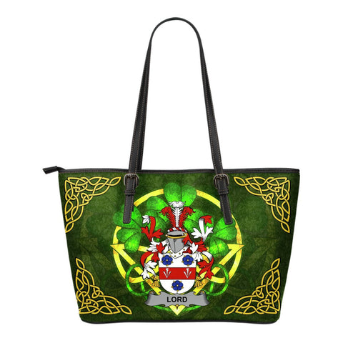Irish Handbags, Lord Family Crest Handbags Celtic Shamrock Tote Bag Small Size A7