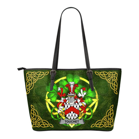 Irish Handbags, Touchet Family Crest Handbags Celtic Shamrock Tote Bag Small Size A7