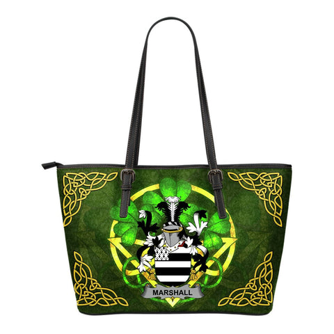 Irish Handbags, Marshall Family Crest Handbags Celtic Shamrock Tote Bag Small Size A7