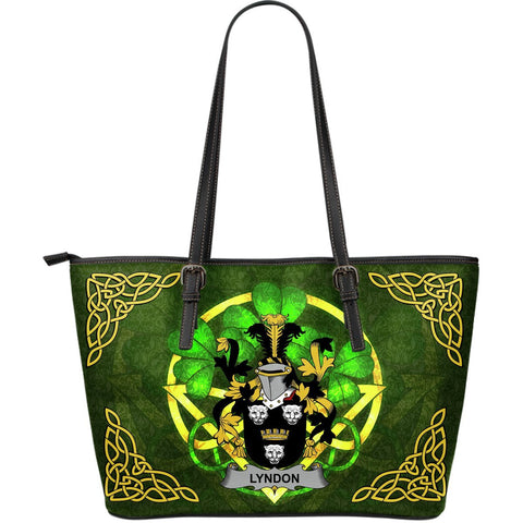 Irish Handbags, Lyndon or Gindon Family Crest Handbags Celtic Shamrock Tote Bag Large Size A7
