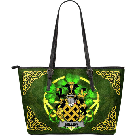 Irish Handbags, Bellew Family Crest Handbags Celtic Shamrock Tote Bag Large Size A7