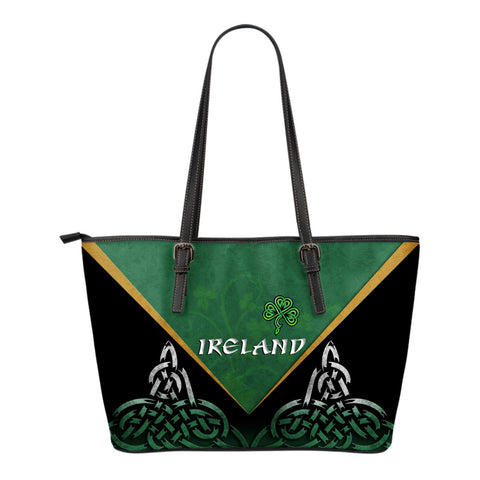 Irish Shamrock Small Leather Tote, Trinity Knot Leather Tote K4