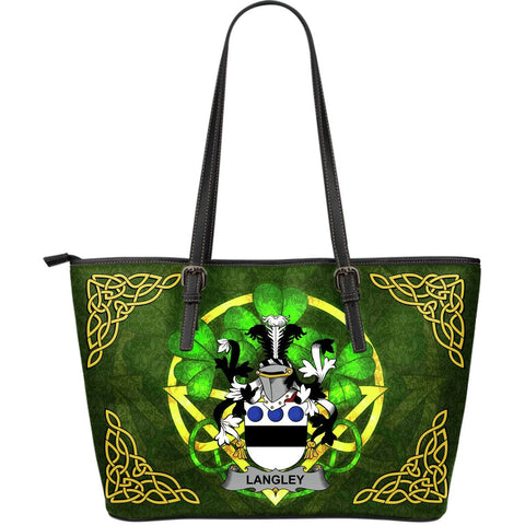 Irish Handbags, Langley Family Crest Handbags Celtic Shamrock Tote Bag Large Size A7