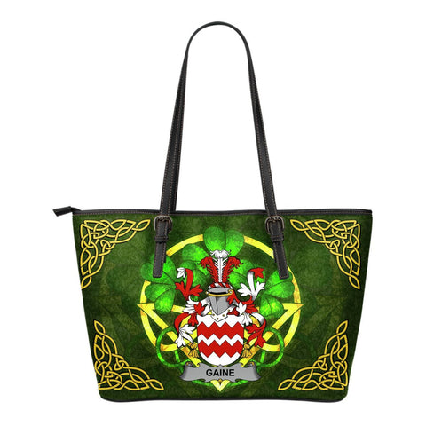 Irish Handbags, Gaine or Gainey Family Crest Handbags Celtic Shamrock Tote Bag Small Size A7