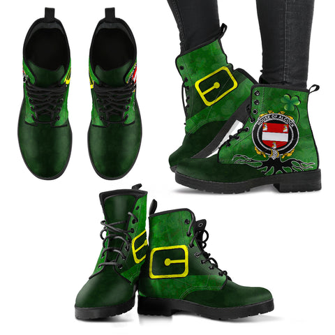 Irish Boots, Alcock Family Crest Shamrock Leather Boots