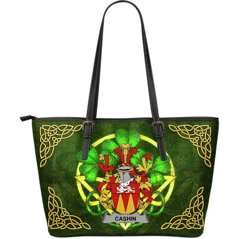 Irish Handbags, Cashin or McCashine Family Crest Handbags Celtic Shamrock Tote Bag Large Size A7
