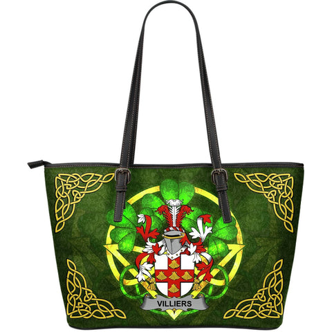 Irish Handbags, Villiers Family Crest Handbags Celtic Shamrock Tote Bag Large Size A7