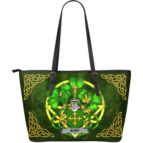 Irish Handbags, Bury or Berry Family Crest Handbags Celtic Shamrock Tote Bag Large Size A7