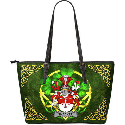 Irish Handbags, Thacker Family Crest Handbags Celtic Shamrock Tote Bag Large Size A7