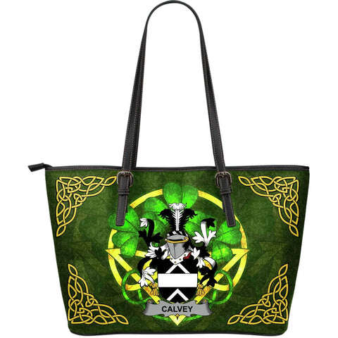 Irish Handbags, Calvey or McElwee Family Crest Handbags Celtic Shamrock Tote Bag Large Size A7