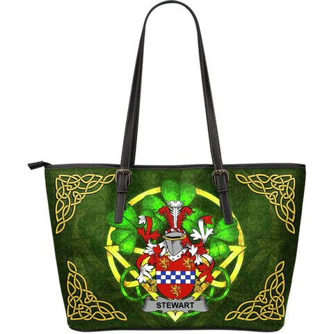 Irish Handbags, Stewart Family Crest Handbags Celtic Shamrock Tote Bag Large Size A7