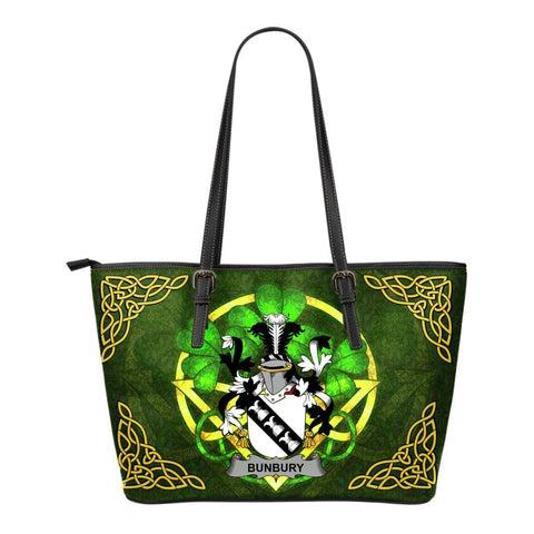 Irish Handbags, Bunbury Family Crest Handbags Celtic Shamrock Tote Bag Small Size A7