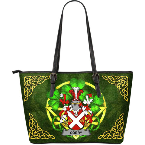 Irish Handbags, Corry or O'Corry Family Crest Handbags Celtic Shamrock Tote Bag Large Size A7