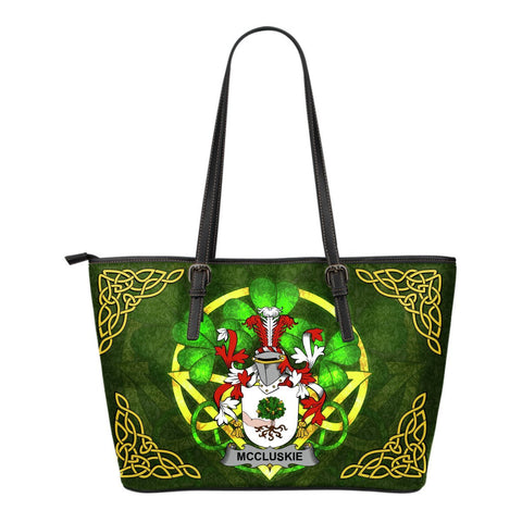 Irish Handbags, McCluskie or McCloskie Family Crest Handbags Celtic Shamrock Tote Bag Small Size A7