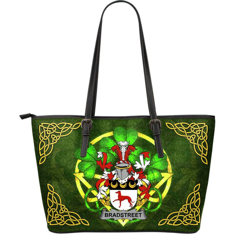 Irish Handbags, Bradstreet Family Crest Handbags Celtic Shamrock Tote Bag Large Size A7