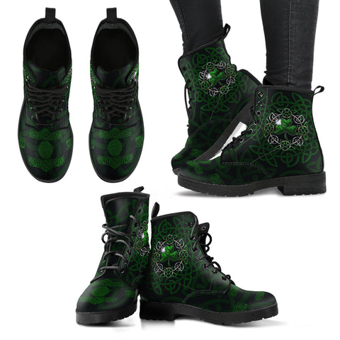Irish Celtic Knot Boots, Shamrock Women's Leather Boots