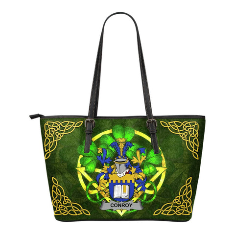 Irish Handbags, Conroy or O'Mulconroy Family Crest Handbags Celtic Shamrock Tote Bag Small Size A7