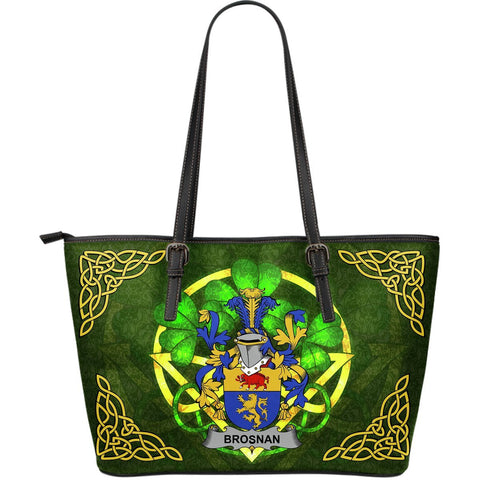 Irish Handbags, Brosnan or O'Brosnan Family Crest Handbags Celtic Shamrock Tote Bag Large Size A7