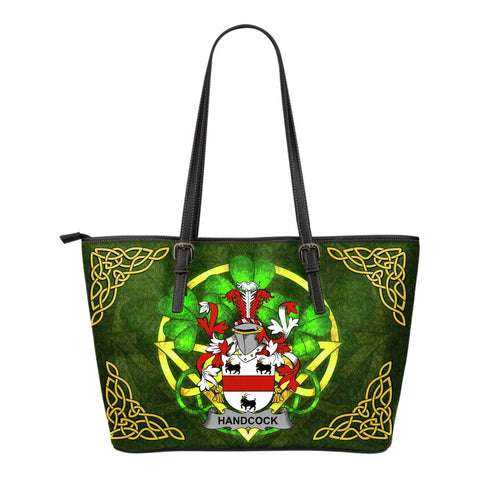 Irish Handbags, Handcock Family Crest Handbags Celtic Shamrock Tote Bag Small Size A7
