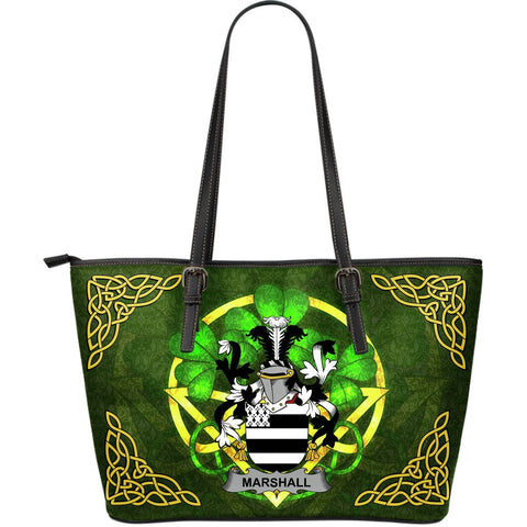 Irish Handbags, Marshall Family Crest Handbags Celtic Shamrock Tote Bag Large Size A7