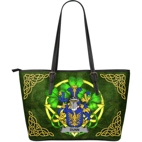 Irish Handbags, Dunn or O'Dunn Family Crest Handbags Celtic Shamrock Tote Bag Large Size A7