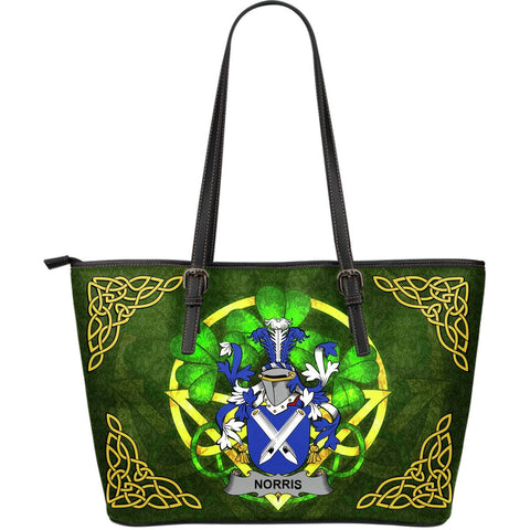 Irish Handbags, Norris Family Crest Handbags Celtic Shamrock Tote Bag Large Size A7