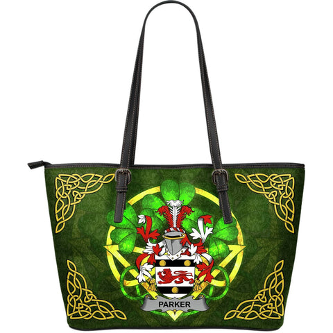 Irish Handbags, Parker Family Crest Handbags Celtic Shamrock Tote Bag Large Size A7