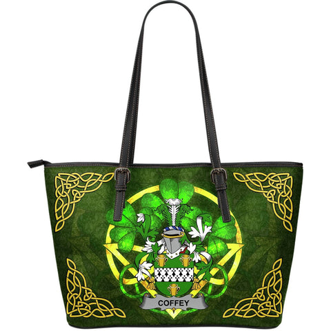 Irish Handbags, Coffey or O'Coffey Family Crest Handbags Celtic Shamrock Tote Bag Large Size A7