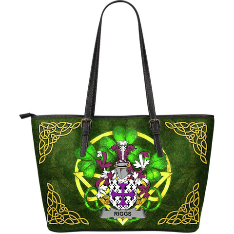 Irish Handbags, Riggs Family Crest Handbags Celtic Shamrock Tote Bag Large Size A7