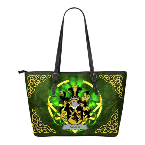 Irish Handbags, Giles or Gyles Family Crest Handbags Celtic Shamrock Tote Bag Small Size A7