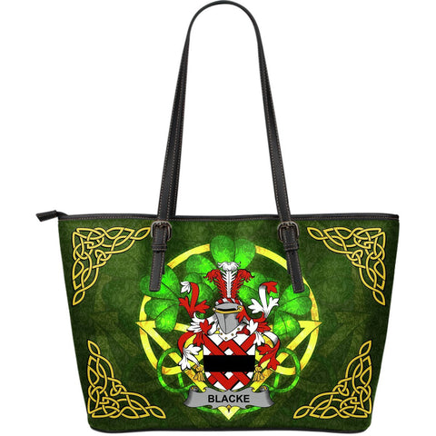 Irish Handbags, Blacke Family Crest Handbags Celtic Shamrock Tote Bag Large Size A7