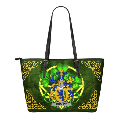 Irish Handbags, Dudley Family Crest Handbags Celtic Shamrock Tote Bag Small Size A7