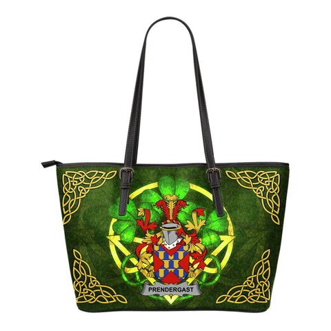 Irish Handbags, Prendergast Family Crest Handbags Celtic Shamrock Tote Bag Small Size A7