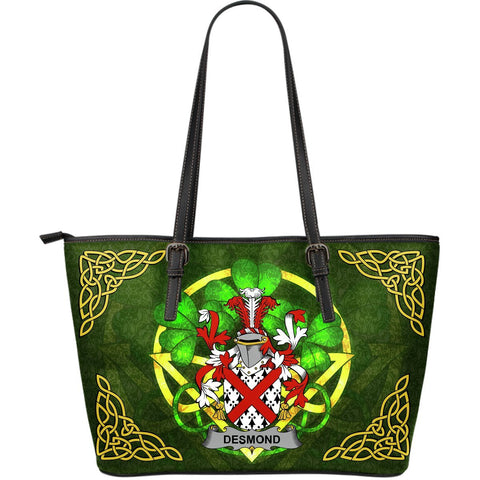 Irish Handbags, Desmond Family Crest Handbags Celtic Shamrock Tote Bag Large Size A7