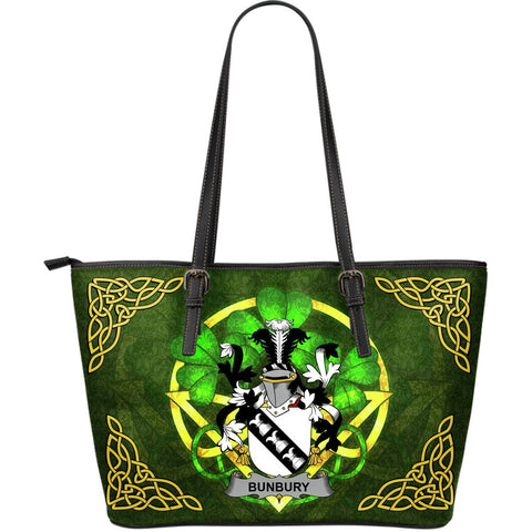 Irish Handbags, Bunbury Family Crest Handbags Celtic Shamrock Tote Bag Large Size A7