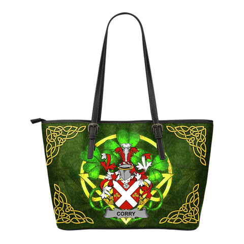 Irish Handbags, Corry or O'Corry Family Crest Handbags Celtic Shamrock Tote Bag Small Size A7