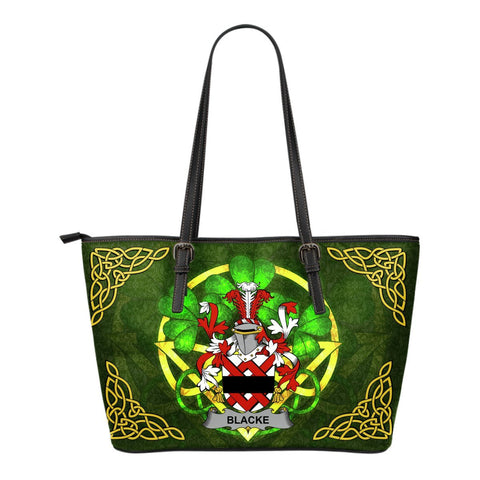 Irish Handbags, Blacke Family Crest Handbags Celtic Shamrock Tote Bag Small Size A7