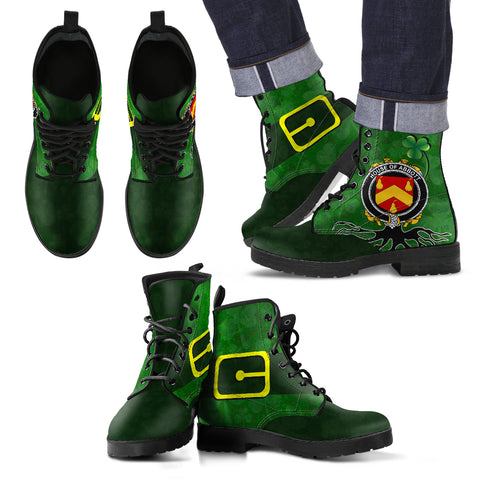 Image of Irish Boots, Abbott Family Crest Shamrock Leather Boots